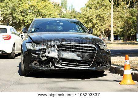 Broken car on the road