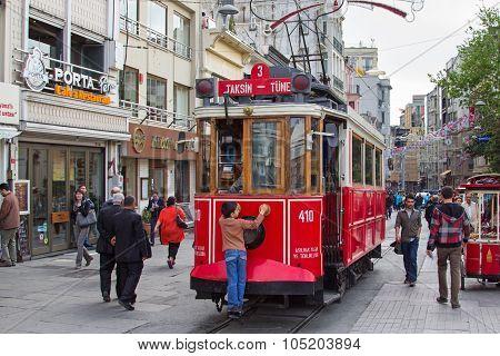 Retro tram in Istambul