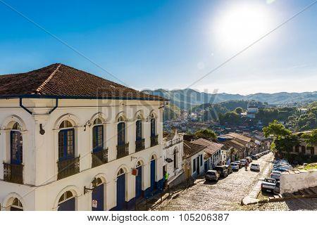 OURO PRETO, BRAZIL - CIRCA OCTOBER 2015: Colonial houses in Ouro Preto in Minas Gerais, Brazil