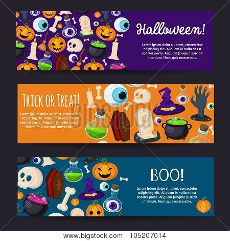 Set of Horizontal Happy Halloween Banners