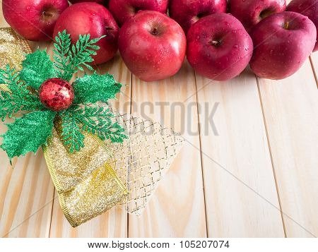 Fresh Red Wet Apples With Ribbon Chrismas