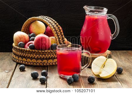 Fruit Compote In A Jug And Mug, Apples And Blackthorn In A Basket