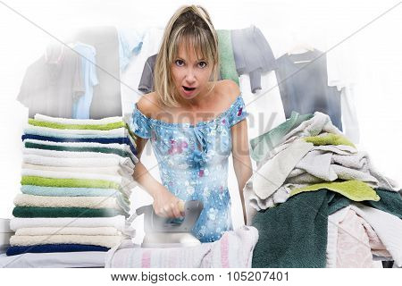 Woman Ironing On Ironing Board Many Clothes