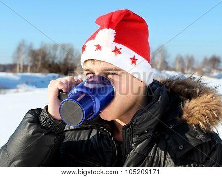 Man In Santa Hat Outdoor