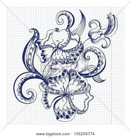 Sketchy doodles decorative floral outline