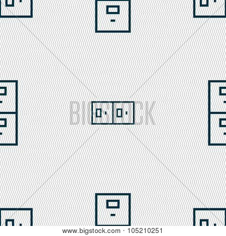 Safe Sign Icon. Deposit Lock Symbol. Seamless Abstract Background With Geometric Shapes. Vector