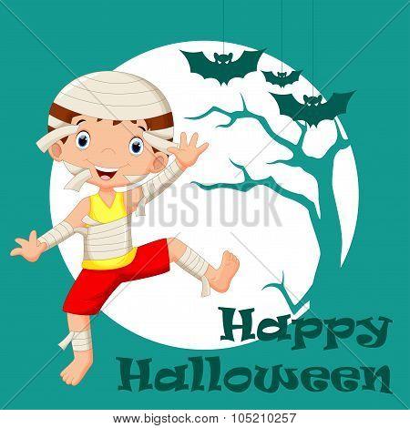 Funny cartoon little mummy, boy wearing Halloween costume