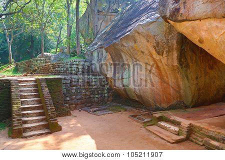 Stairway in Sigiriya Lion Castle, Sri Lanka, HDR image