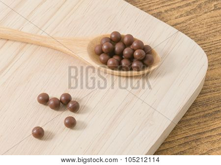 Herbal Cough Pastille On A Wooden Spoon