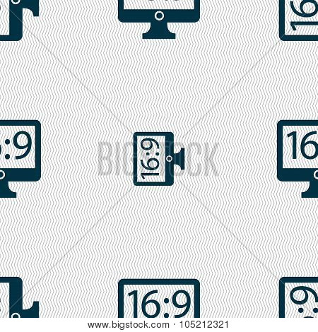 Aspect Ratio 16 9 Widescreen Tv Icon Sign. Seamless Abstract Background With Geometric Shapes. Vecto