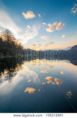 Calm Lake Water, Cloudy Sky Reflections