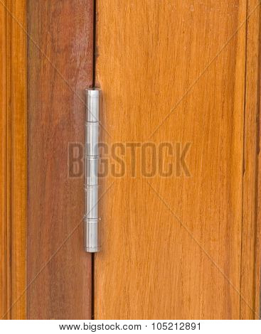 Stainless Steel Hinge On Brown Wooden Door