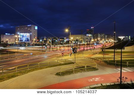 Traffic In Katowice, Poland In The Evening