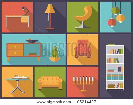 Interior and furniture icons vector illustration..Horizontal flat design illustration with various interior, furniture and home decoration icons