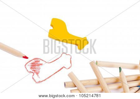 Red Illustration And Wooden Block