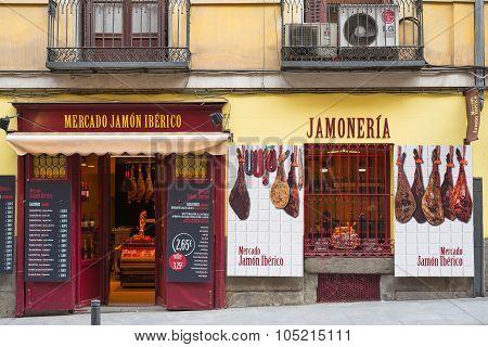 Store Of Spanish Ham In Madrid Centre