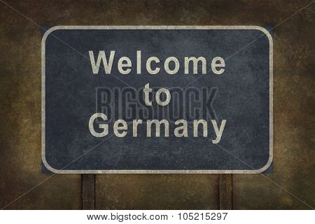 Welcome To Germany Roadside Sign Illustration