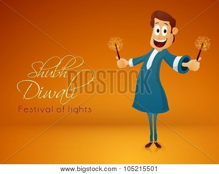 Illustration of a man with firecrackers, celebrating and enjoying on occasion of Indian Festival of Lights, Happy Diwali celebration.