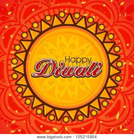 Elegant greeting card design decorated with beautiful floral pattern for Indian Festival of Lights, Happy Diwali celebration.