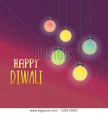 Glossy colourful illuminated lit lamps hanging on abstract background for Indian Festival of Lights, Happy Diwali celebration.