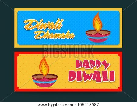 Stylish Sale website header or banner set with illuminated colourful lit lamps for Indian Festival of Lights, Happy Diwali celebration.