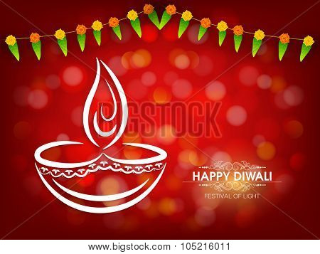 Indian Festival of Lights, Happy Diwali celebration with creative lit lamp on shiny red background.