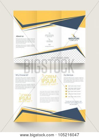Creative stylish Business Trifold, Brochure, Template or Flyer with abstract design in front and back page presentation.