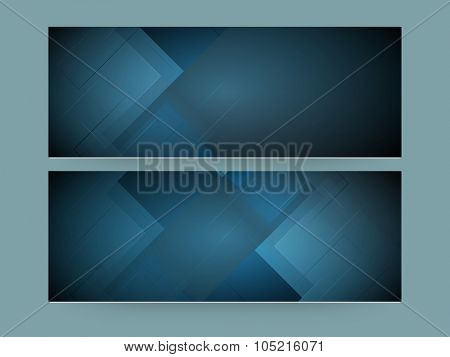 Glossy Abstract website header or banner set in blue color.