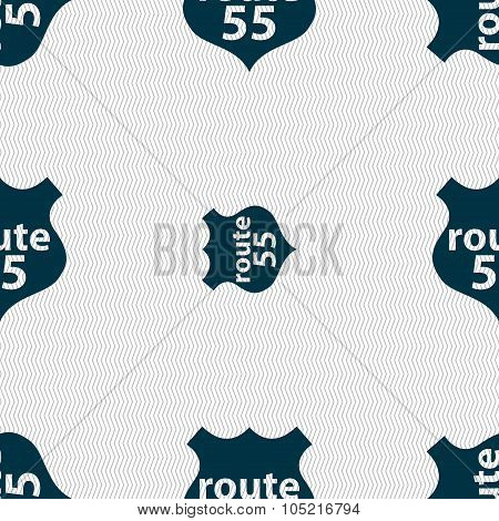 Route 55 Highway Icon Sign. Seamless Abstract Background With Geometric Shapes.