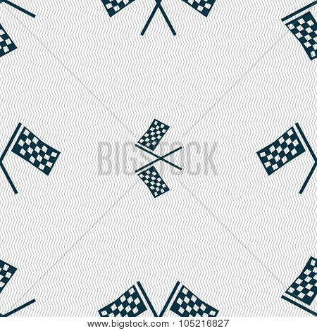 Race Flag Finish Icon Sign. Seamless Abstract Background With Geometric Shapes.