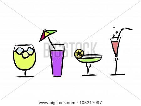 Different Cocktails. Vector Illustration