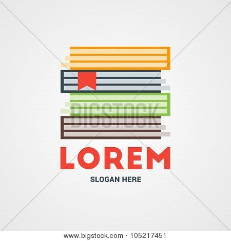 Vector Logo Template. Stack Of Books. Logo For Bookshop Or Library