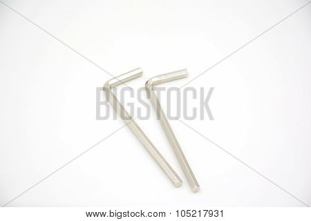 Two Alen Or Hollow Set-screw Wrench On White Background