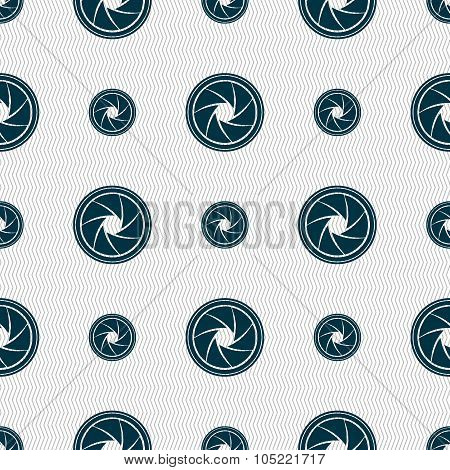 Diaphragm Icon. Aperture Sign. Seamless Abstract Background With Geometric Shapes.