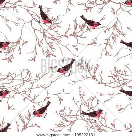 Bullfinches And Tree Branches Seamless Vector Print