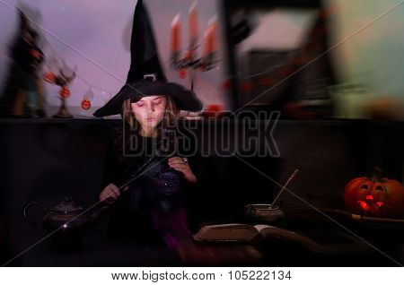 Young Witch on Halloween