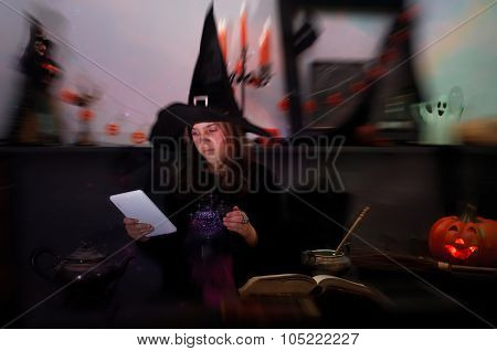 Young Witch With Tablet