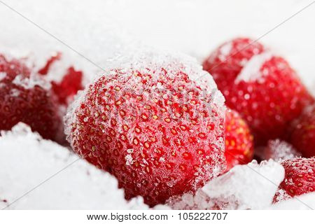 Strawberries, Frozen For Long Duration Storage Of Ice.