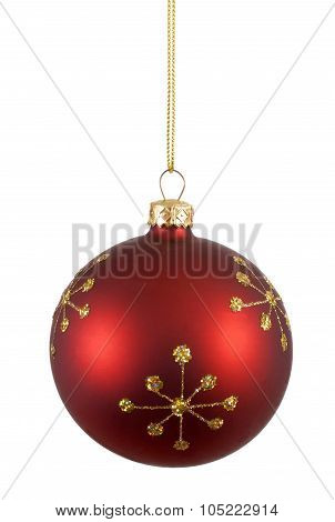 Red Christmas Ball Or Bauble With Gold Snowflake Pattern