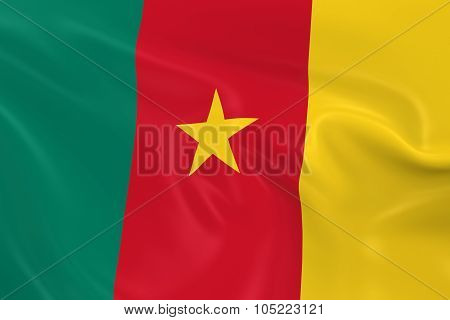 Waving Flag Of Cameroon - 3D Render Of The Cameroonian Flag With Silky Texture