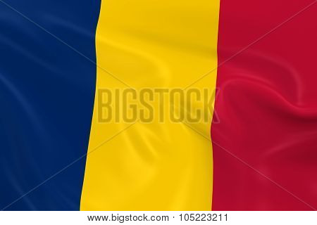 Waving Flag Of Chad - 3D Render Of The Chadian Flag With Silky Texture
