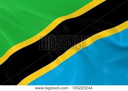 Waving Flag Of Tanzania - 3D Render Of The Tanzanian Flag With Silky Texture