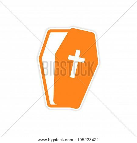 Sticker open coffin Halloween theme on a white background