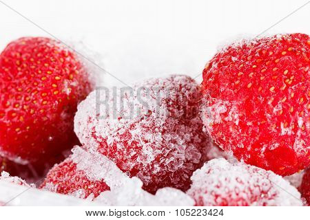 Strawberries, Frozen For Long Term Storage On White Background