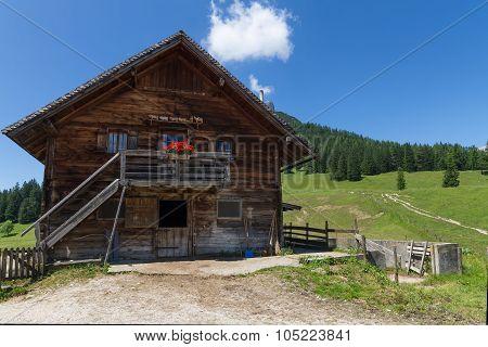 Rural scene with old alpine hut near Walderalm. Alps Austria Tirol.