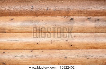 Wooden Wall Made Of Logs. Natural Background