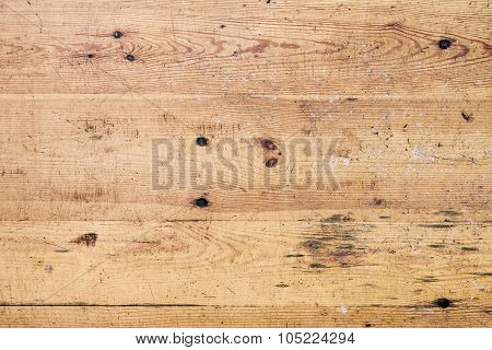 Old Grungy Wooden Floor With Cracks And Scratches