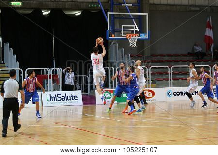 Vicenza, Italy. 18Th October, 2015. Basketball Match Between Vicenza Pallacanestro And Ltc Sangiorge
