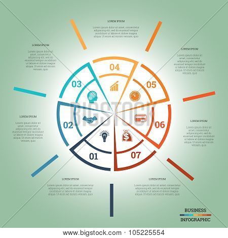 Infographic Pie Chart Template Colourful Circle Seven Positions