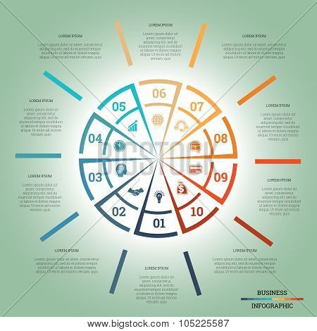 Infographic Pie Chart Template Colourful Circle Ten Positions